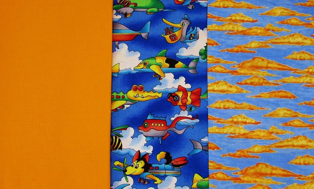 Hoffman novelty fabric whimsical aircraft cotton print flying for Airplane print cotton fabric