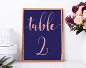 Table numbers gold Rose gold table numbers Wedding table number Printed table number Table number cards Table names Navy table numbers