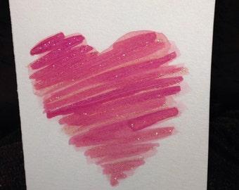 Heart Watercolour Print Card - BLANK INSIDE