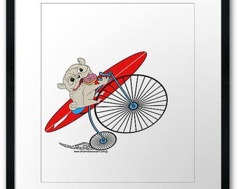 Surfing pug dog on his bike heading towards the beach looking for some sick waves to surf print poster.
