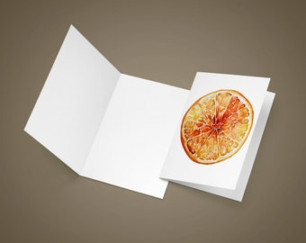 Orange Greeting Card   Blank Greeting Card   Watercolor Greeting Card   Kitchen Art   Food Art   Food Illustration   Citrus Art Print