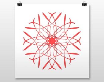 "Mandala Wall Art, Hippie Poster Print, 8 colors, 10x10"", 12x12"", 14x14"", 16x16"", 18x18"""