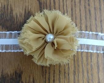 Gold Flower on White Ruffle Elastic Headband - Custom Size