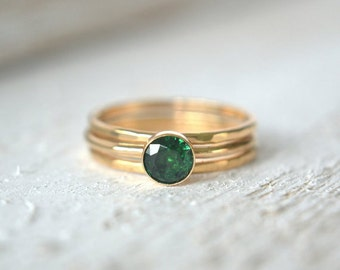 Emerald Ring Set, Gold Emerald Ring, Small Gemstone Ring, Stacking Ring, Stackable Gold Ring, Green Ring, Emerald Stone Ring, Dainty Ring
