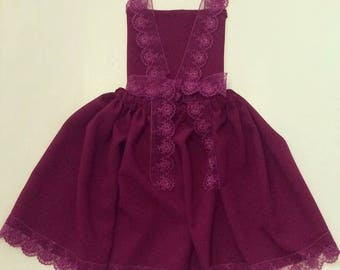 Apron dress with lace backless. French manufacturing