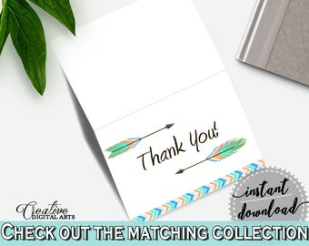Thank You Card Baby Shower Thank You Card Arrows Baby Shower Thank You Card Baby Shower Arrows Thank You Card Rainbow Black - 955MG