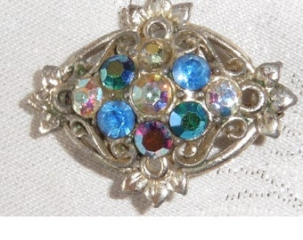 Vintage Silver Plated Coloured Stones Brooch