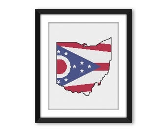 PDF - Ohio State Flag Outline Cross Stitch Pattern