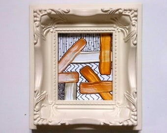 Abstract Painting Tiny Acrylic Ink Metallic Gold White Silver Original Small Art in Vintage Style Brocade Frame Geometric Patterns