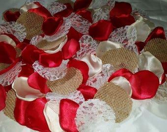 100 Pieces Rustic Wedding Flower petals, Burlap Wedding centerpiece. Customize color is available.