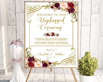 Unplugged Ceremony Sign, Unplugged Wedding Sign, No Cell Phone Sign, No Photography Sign, Welcome To Our Unplugged Wedding, Boho Floral,#LC