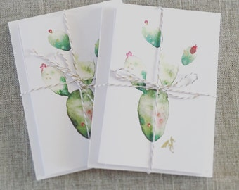 Watercolor Catus Blank Greeting Cards