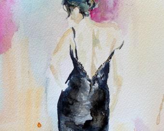 Original figurative woman watercolor painting, woman watercolor, back woman watercolor,abstract woman watercolor,abstract woman painting