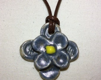 Dusky blue ceramic flower necklace