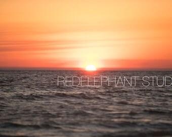 5 Ocean Sky Sunsets with an Orange Sky Digital Background/Digital backdrop