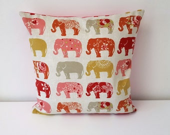 Handmade Decorative Elephants on the March Cushion Cover Subtle Pink. The Elephant in the room.