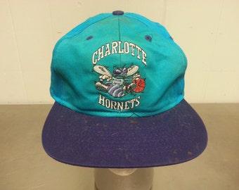 Vintage 90's ADJ Charlotte Hornets Snapback Dad Hat NBA Basket Ball North Carolina Teal