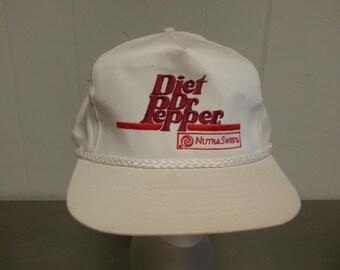 Vintage 80's Diet Dr Pepper Soda Snap Back Dad Hat Rare Promotional Cap Soft Drink