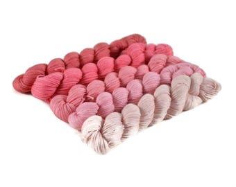 Sock Yarn Gradient Mini Skein Set, Transition 115 yds 25g each, Fingering 575yd 125g total 75/25 Superwash Merino/Nylon, pink - Bubblegum
