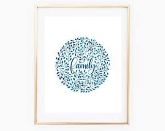 Blue Family Vines Printable // Digital Print //Digital Download