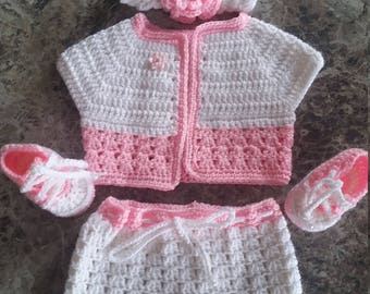 White and Pink baby crochet set
