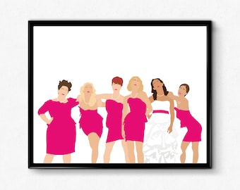 Bridesmaids Minimalist Movie Poster, Female Character Poster, Wall Art