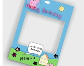 Peppa Pig cut out frame - Social Media Prop Frames - Digital Download