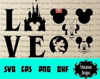 Disney Love Interchangeable SVG, Minnie Mouse, Mickey Mouse, Disney Castle, JPG, Printable, Clip Art, Iron On, Silhouette Cameo, Cricu