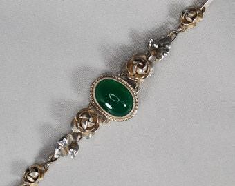 Vintage Silver Roses and Chrysoprase Link Bracelet