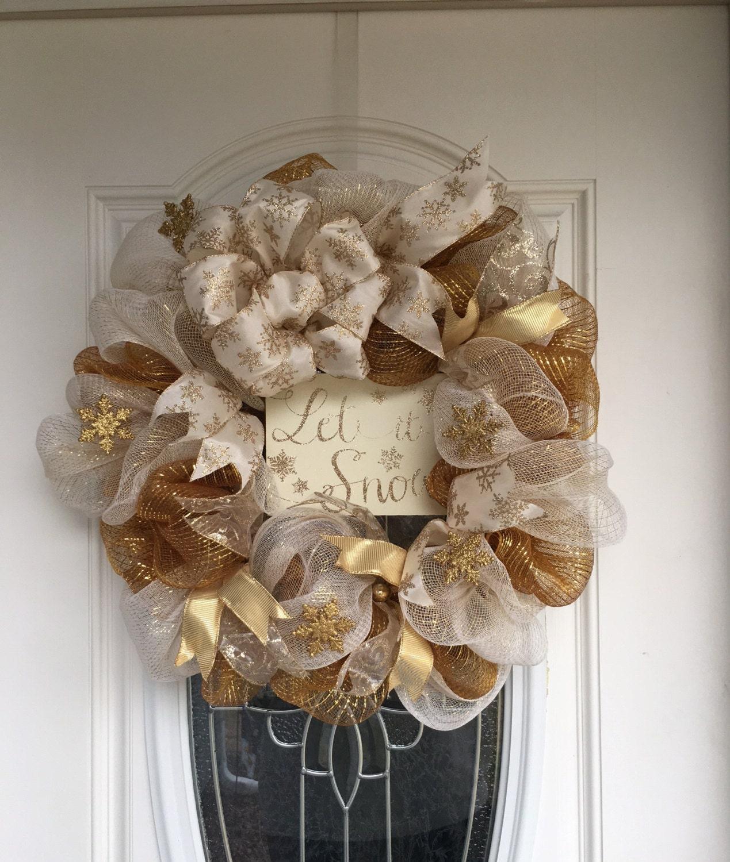 gold winter mesh wreath winter wreath for front door winter. Black Bedroom Furniture Sets. Home Design Ideas