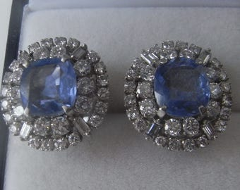 Fabulous Vintage Natural Sapphire and Diamond Ear Studs White Gold