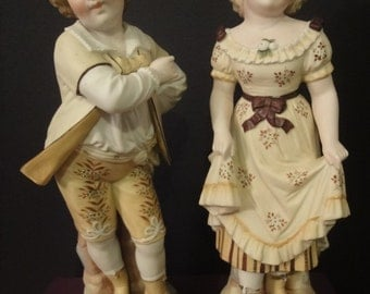 Pair of LARGE antique continental/european BISQUE figurines hand painted   36cm high