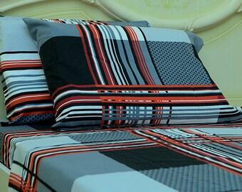 Goza Cotton 190 Gram Heavyweight Flannel Sheet Set Queen - Grey Plaid