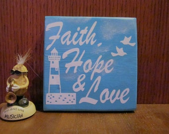 "Aprox . 6""x 6"" CustomWood Sign, Faith, Hope & Love 1 Cor.13, size 6""x 6"" Plaque BEA-utiful, Great Little Stocking Suffer!"