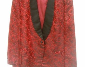 "Men's Brocade Custom Made ""Rat Pack"" Style Tux Jacket c 1960s"