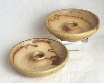 Stoneware Candle Dishes - Pagan - witchcraft - wicca - vintage – decorative – Gift - Handmade - Celebration - Solstice - Equinox – Altar