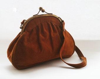 Vintage brown suede bag 50s, old suede bag perfect condition, vintage bags good condition, bags from 50s, suede bag, beautiful brown bags