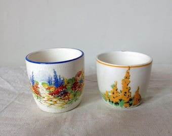 Two Vintage Floral Eggcups - Flower Egg Cup - 1940s Egg Cup - Collectible Eggcup - China Eggcup