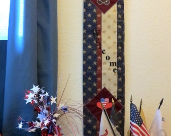 Embroidered Patriotic Welcome sign