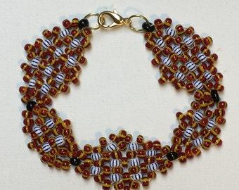 Blue and Maroon Basket Weave Pattern Bracelet