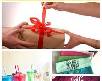 Monogrammed Gift Set, bride baby birthday Personalized Christmas Wedding graduation friend housewarming going away get well sick heal
