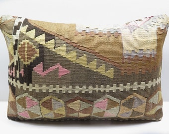 "Vintage Turkish Kilim Rug Pillow 20""X14"""