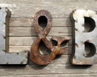 "Recycled Metal Letters with & Sign, 14"" Industrial Rustic Block Initial Signage, Natural Metal....Pick Your Own Letters!"
