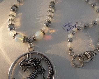 Moonstone necklace Dragon