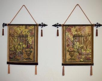 Set of 2 Medieval Tapestry Art
