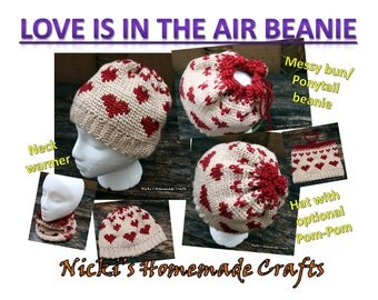 "PATTERN ""Love is in the Air Beanie"" *Crochet *messy bun * ponytail * scarf *neck warmer * hat *pom-pom"