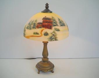 Reverse Painted Lamp Winter Scenery Lamp