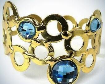 Sky Blue Bubble Brass Cuff Cuff Bracelet