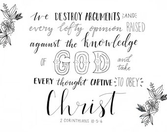 Take every thought captive - Bible Verse in Monochrome from 2 Corinthians 10 digital print A5/A4 download PDF