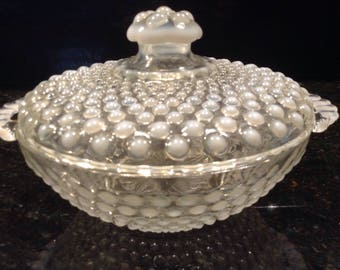Vintage Fenton Opalescent candy dish with lid